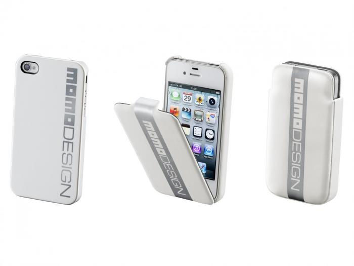 CUSTODIA MOMO DESIGN FLAP CASE RACING BIANCA IPHONE 4/4S CELLULAR