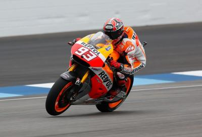 Marquez bastona tutti in FP2 MotoGP a Indy. Bene Ducati