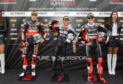 SBK 2015, Aragon: in pole Haslam (Aprilia), 2° Davies (Ducati), 3° Sykes (Kawasaki)