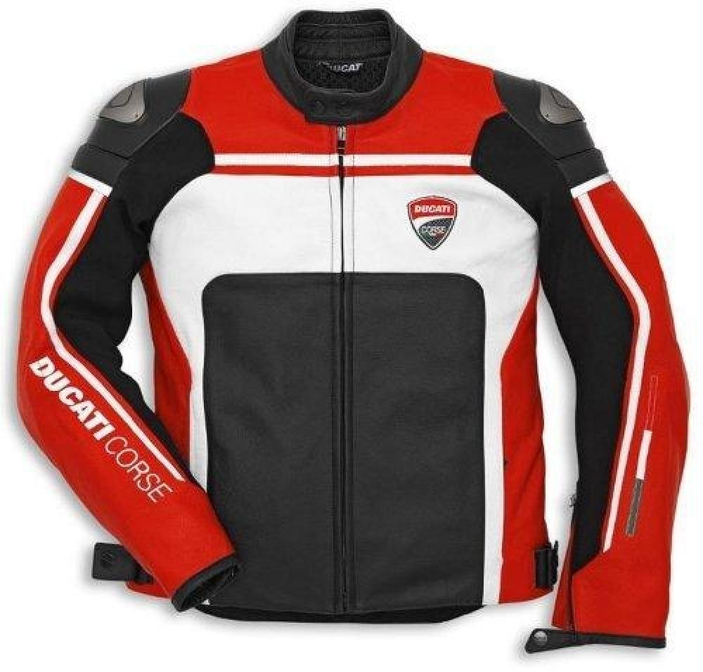 DUCATI giacca di pelle nera per motociclisti