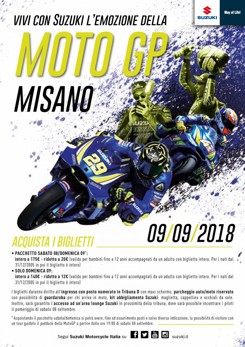 Biglietti MotoGP 2018 Misano per la tribuna Suzuki - Motociclismo