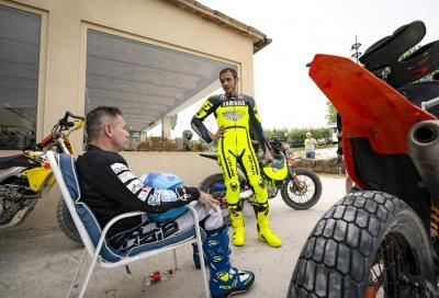 Nicola Dutto in pista con Rossi al Ranch di Tavullia