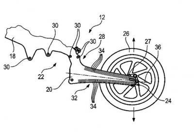 BMW brevetta il telaio in carbonio con forcellone flessibile integrato