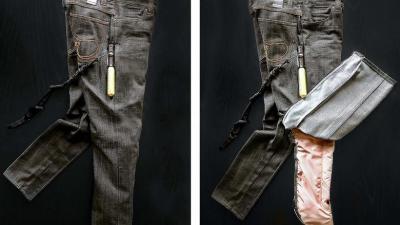 Gambe al sicuro con i jeans con l'airbag
