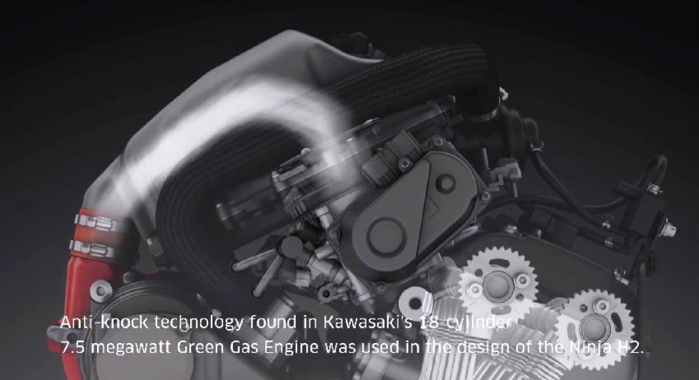 Elaborazione 3D che mostra il disegno del motore della Kawasaki Ninja H2/H2R