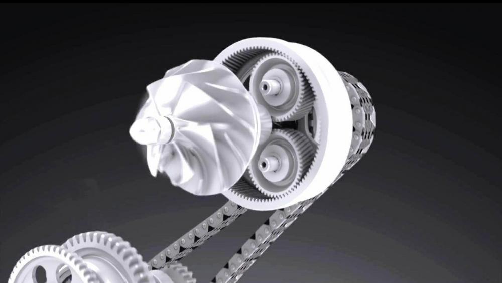 Schema di funzionamento del compressore: la presa di forza è a catena, mentre un rotismo planetario si incarica di portare il regime di rotazione della girante fino a 130.000 giri
