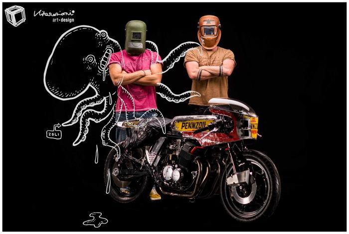 Dietro le maschere da saldatore ci sono gli autori: Alberto Dalsasso e Riccardo Zanobini