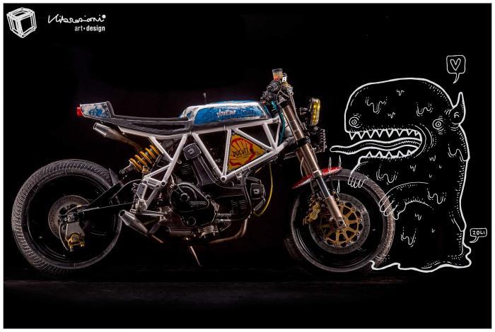 """Cartolina con soggetto la special """"Motarda"""" di Vibrazioni Art Design (base Ducati SS350)"""
