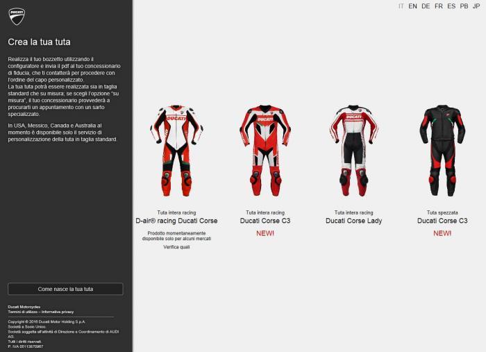 Ducati: con ducatisumisura.com personalizzi la tua tuta motociclismo