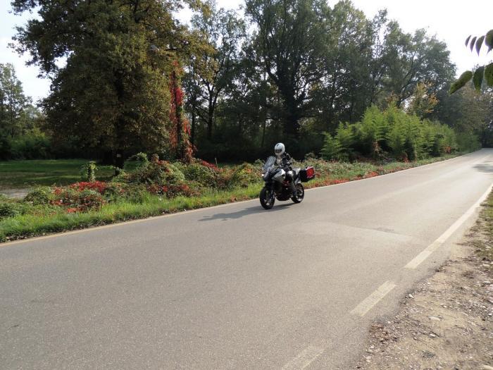 """Moto Morini Granpasso R: novità 2016 (cerchi in lega con anteriore da 17""""). La moto fotografata su strada con equipaggiamento da viaggio. Colorazione argento con telaio rosso (c'è anche rossa con cerchi grigi e telaio nero o nel colore preferito dal cliente: Moto Morini gliela fa """"su misura"""")"""