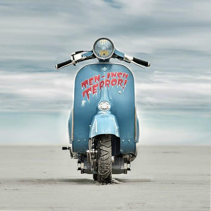 Vespa modificata, special con motore Husqvarna 360 cc: Ten Inch Terror. Bassa e cattiva