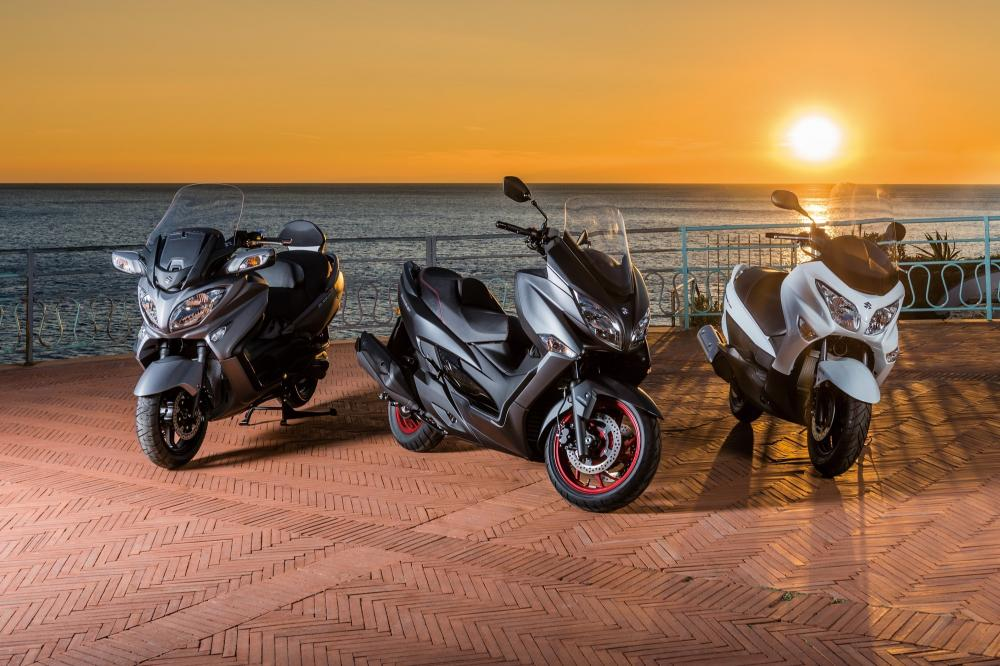 Da sinistra Burgman 650  Executive, Burgman 400 ABS e Burgman 125/250 ABS
