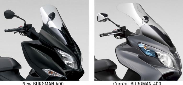 Le differenze tra il parabrezza del Suzuki Burgman 400 2017 e quello del vecchio modello