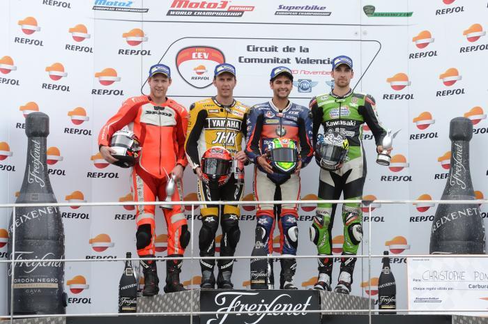 CEV 2016, Valencia: il podio della classe SBK. Vince Scheib, seguito da Morales e Ponsson. A sinistra Plassen, vincitore nella classe Privateers