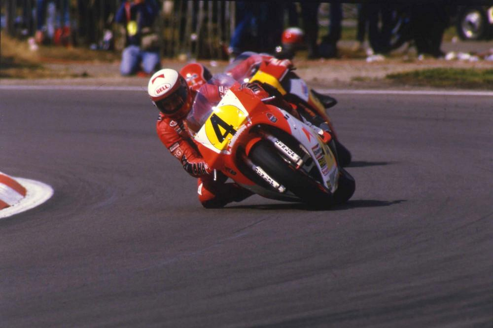 Eddie Lawson nel 1984, quando è promosso prima guida sulla Yamaha del team Agostini