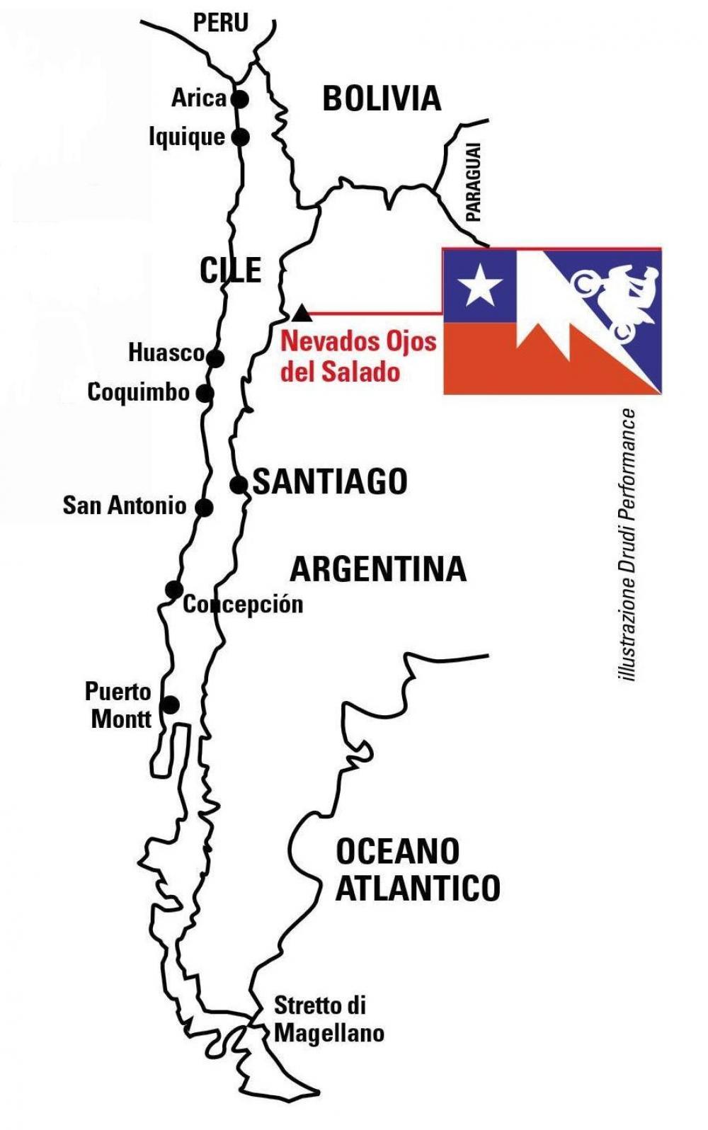"""La """"Scalata dei record"""" è un'impresa alla caccia di tre record di """"motociclismo in altura"""" tentata da un team di cui fa parte il nostro tester, Francesco Catanese. La moto è una Honda Africa Twin, il luogo è il Nevado Ojos de Salado, il vulcano attivo più alto del mondo (6.890 m), al confine nord tra Cile e Argentina. Geolocalizzazione"""