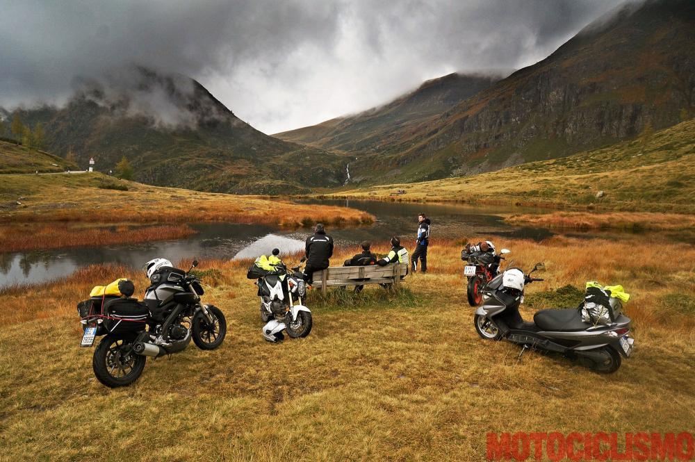 Mega comparativa turistica: la 24 Ore delle Alpi. Tappa 3: Biasca (Canton Ticino, Svizzera) – Dalmine (BG). Le moto coinvolte sono:  Honda MSX 125, KTM RC125, Suzuki Burgman 125, Yamaha MT-125