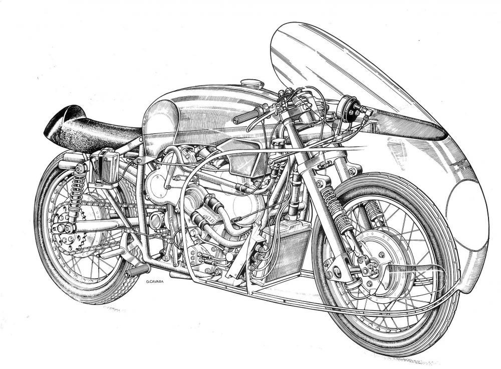 Moto Guzzi 8 cilindri GP 500 (1955-57): disegno dello specialista Gianni Cavara, che svela quello che cela la carenatura. Il tubo (da 85 mm di diametro) funge da trave superiore del telaio e serbatoio lubrificante.