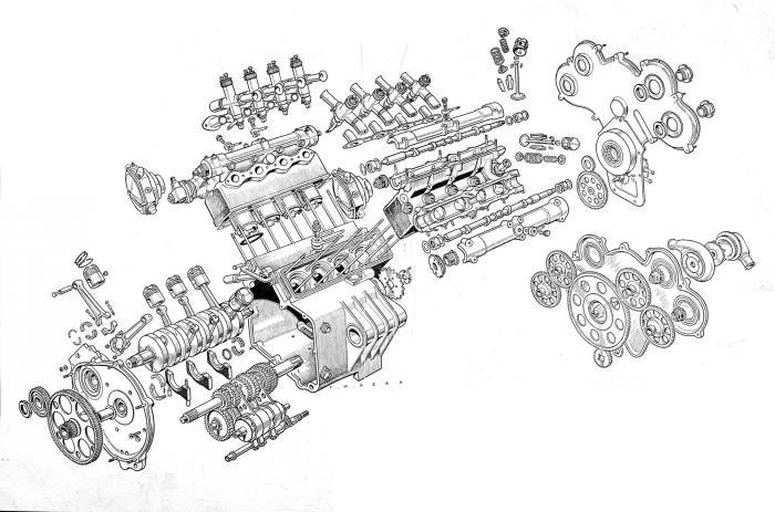 """Moto Guzzi 8 cilindri GP 500 (1955-57): """"esploso"""" di Francis Beak che permette di apprezzare la disposizione degli organi del motore, come la cascata di ingranaggi della distribuzione, il primo cambio a sei marce, l'albero motore con le manovelle a 180° e le bielle a testa spaccata."""