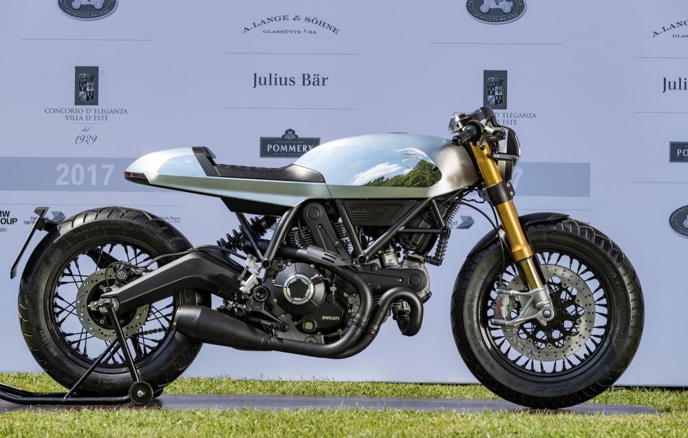 Concorso di Motociclette 2017: la Ducati Café Racer concept vincitrice della Classe E (e anche premio del pubblico di Villa Erba)