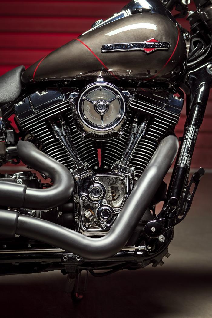 """Il motore di """"Vittoria"""", l'ultima special di Officine GP Design, è quello originale della moto di serie, una Harley-Davidson Dyna m.y. 2010-2011"""