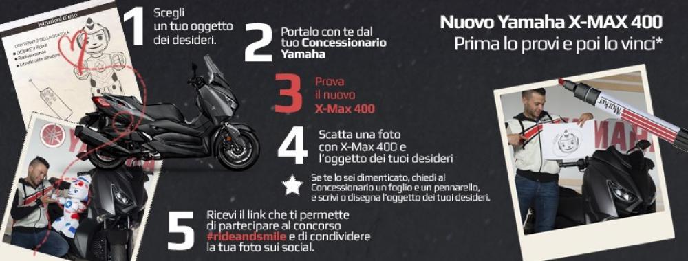 """Yamaha """"Ride and Smile"""" la locandina del concorso che permette di vincere, dal 9 al 30 settembre, un'X-Max 400 2018"""