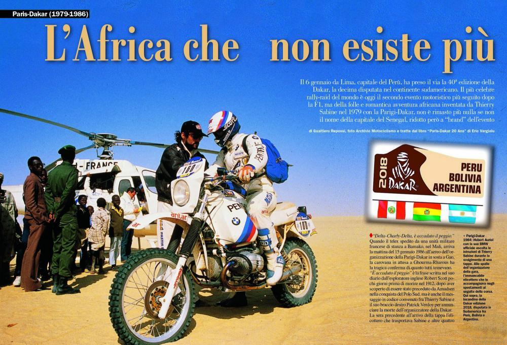 In copertina Gaston Rahier con la BMW, immagine simbolo per andare a scoprire il dossier relativo alla Paris-Dakar, giunta oggi alla 40° edizione. In questa occasione sono trattate le gare dal 1979 al 1986, organizzate da Thierry Sabine, inventore di questa spettacolare e durissima competizione.