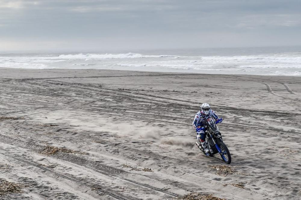Xavier De Soultrait in sella alla sua Yamaha nella quarta tappa della Dakar 2018