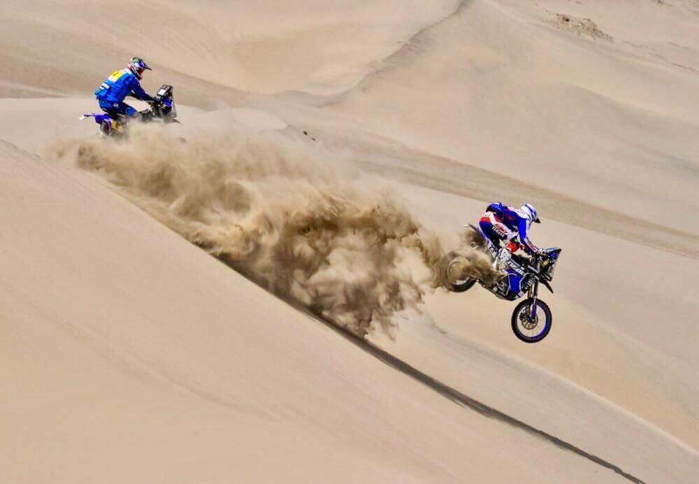 Xavier De Soultrait in sella alla sua Yamaha durante la quinta tappa della Dakar