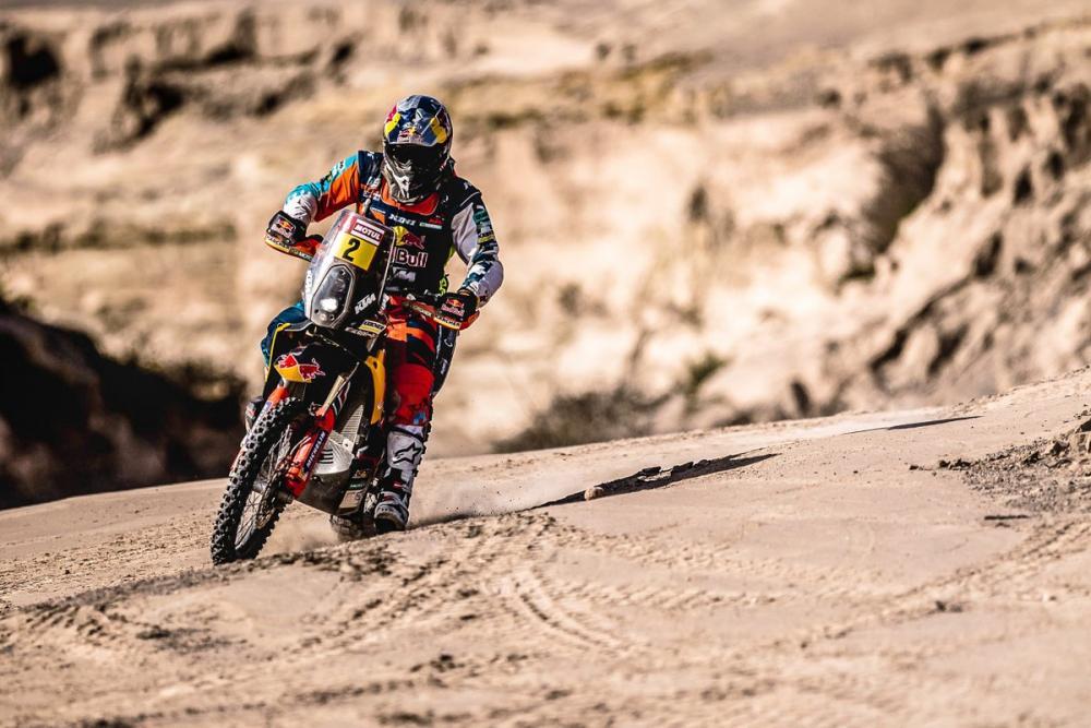 Matthias Walkner in sella alla sua KTM durante la quinta tappa della Dakar 2018