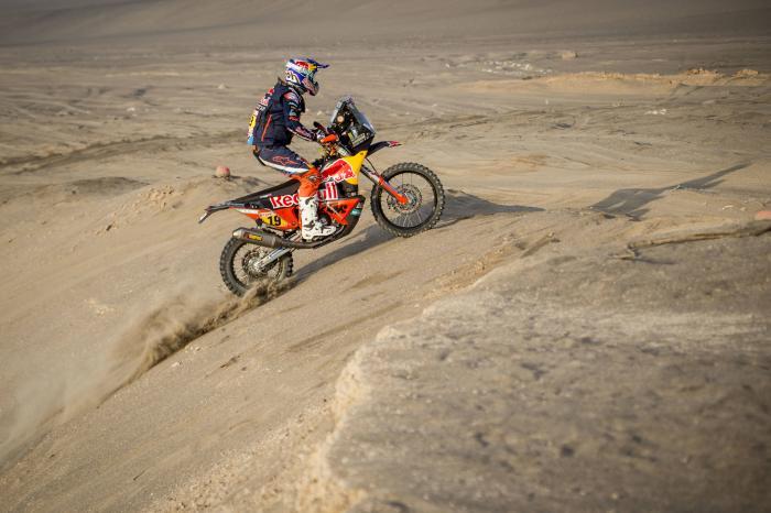 Antoine Meo in sella alla sua KTM durante la quinta tappa della Dakar 2018