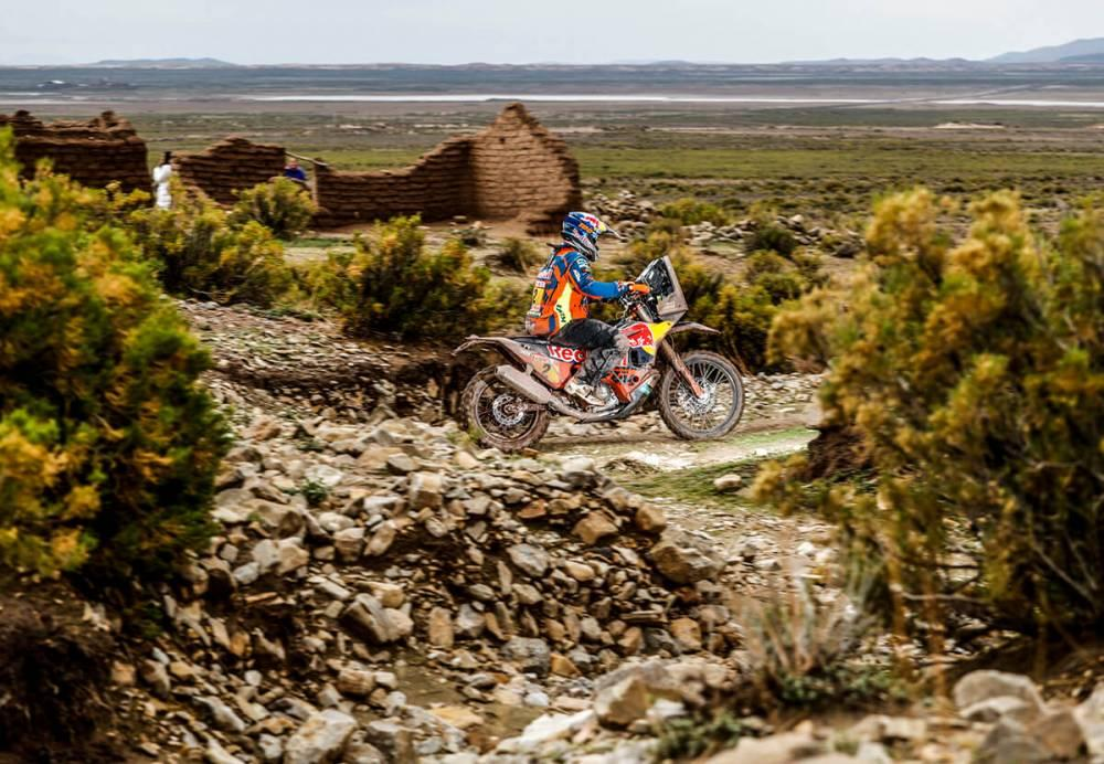 Matthias Walkner in sella alla sua KTM nella settima tappa della Dakar 2018