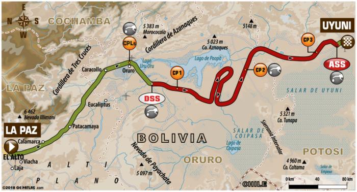 Il percorso della settima tappa della Dakar 2018