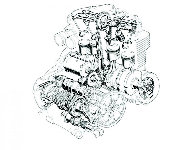 Il disegno mostra il 4 cilindri della Honda CB500 Four