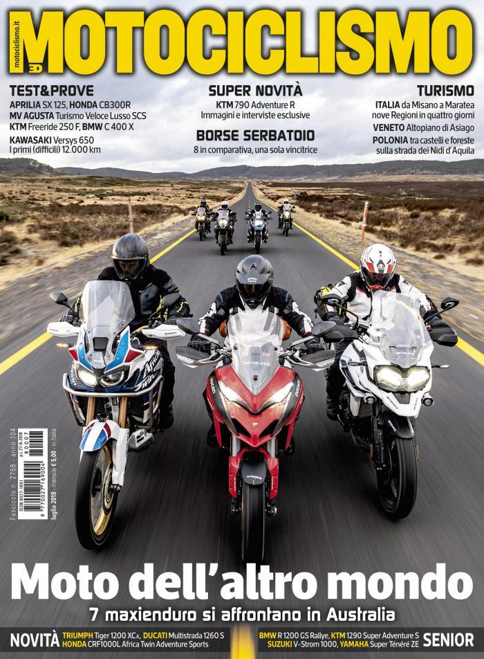 La copertina è dedicata alla prova-avventura più attesa dell'anno: 7 Maxienduro si sfidano in Australia.
