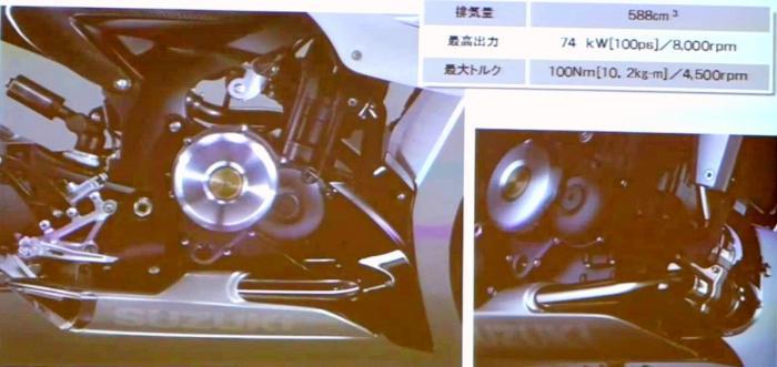 Il motore è un bicilindrico in linea di 588 cc con doppio albero a camme in testa, ovviamente alimentato ad iniezione elettronica e dotato di turbocompressore. La scheda tecnica parla di 100 CV a 8.000 giri e 100 Nm a 4.500 giri.