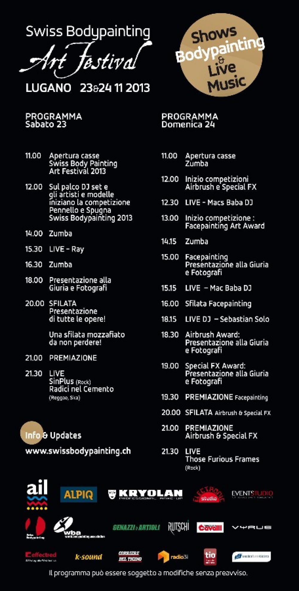 Il programma del Swiss Bodypainting Art Festival 2013