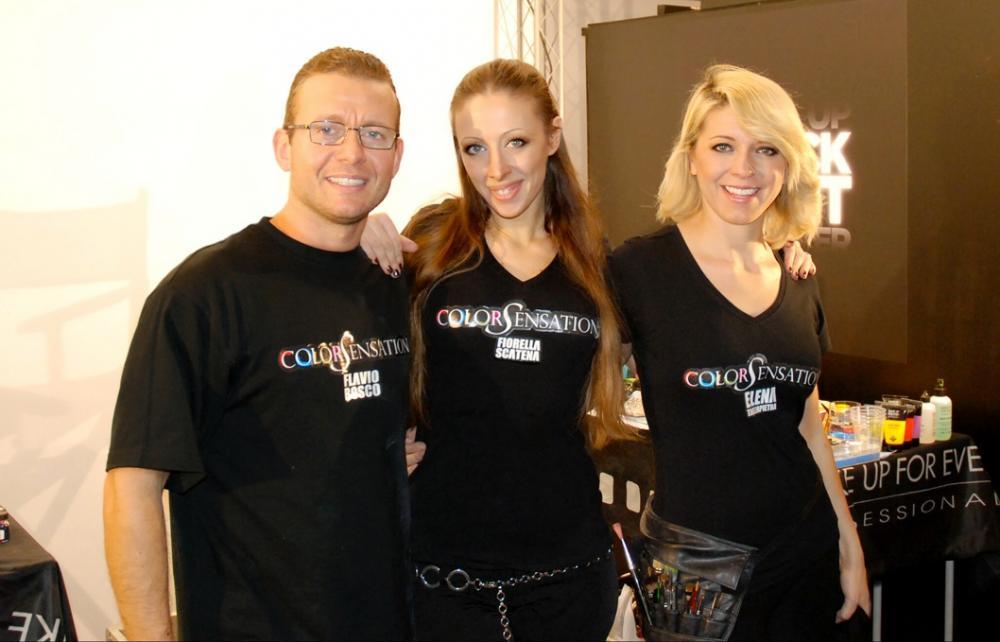 Il ColoSensarion Team composto da tre grandi campioni italiani della body art: Flavio Bosco, Fiorella Scatena e Elena Tagliapietra