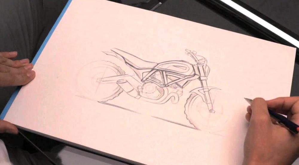 Un bozzetto della Scrambler Ducati